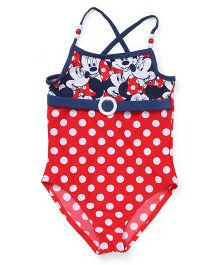 Disney Cross Back V Cut Swimsuit Minnie Mouse Print - Red