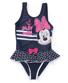 Disney Sleeveless V Cut Frock Swimsuit Minnie Mouse Print - Navy Blue