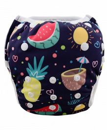 Wanna Party Swim Diaper Fruit Print - Navy Blue