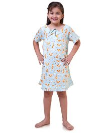 Popsicle Printed Nighty - Light Blue & Orange