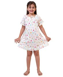 Popsicle Ice Cream Printed Nighty - Multicolor