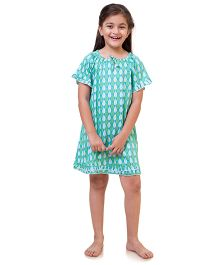 Popsicle Leaf Printed Nighty - Green