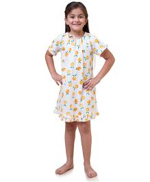 Popsicle Tangerine Printed Nighty - White & Orange