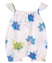 Popsicle Peacock Printed Romper - White Blue & Green