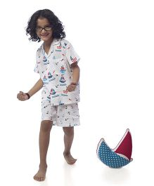 POPSICLE Boat Printed Night Suit - White Blue & Red