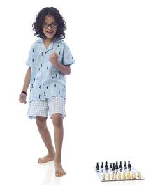 POPSICLE Chess Printed Night Suit - Blue & Black & White