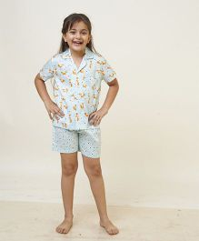 POPSICLE Fox Printed Night Suit - Light Blue & Orange