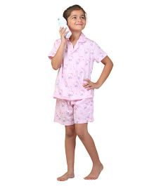 POPSICLE Cat Printed Night Suit - Baby Pink