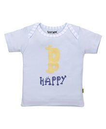 Tiny Bee Half Sleeves Tee B Happy Print - Blue