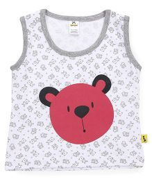 Tiny Bee Bear Print T-Shirt For Boys - Off White
