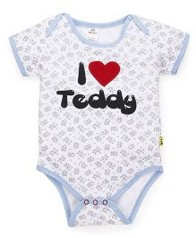 Tiny Bee Basic Onesie I Love Daddy Print And Patch - White