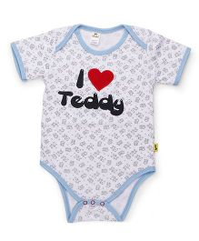 Tiny Bee Basic Onesie I Love Mommy Print And Patch - White