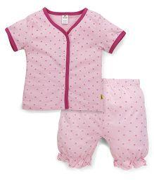 Tiny Bee Half Sleeves T-Shirt & Shorts - Pink