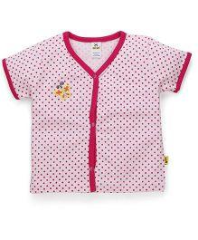 Tiny Bee Half Sleeves Vest Dots Print - Pink