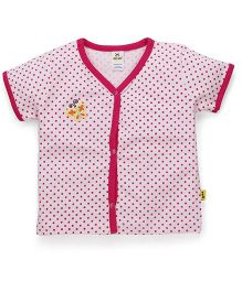 Tiny Bee Half Sleeves Vest Dots Print - Pink