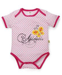 Tiny Bee Basic Onesie Dots Print & Butterfly Applique - Pink