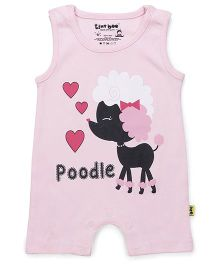 Tiny Bee Sleeveless Romper Poodle & Heart Print - Pink
