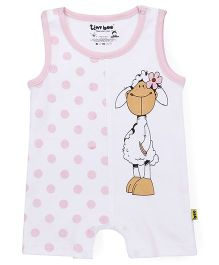 Tiny Bee Sleeveless Printed Romper - White & Pink