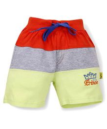 Tiny Bee Little Prince Embroidered Shorts  - Red Grey & Yellow