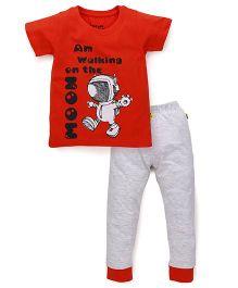 Tiny Bee Half Sleeves T-Shirt & Cuff Pajama Set - Orange
