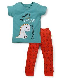 Tiny Bee Half Sleeves T-Shirt & Cuff Pajama Set - Green & Orange