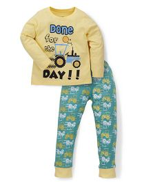 Tiny Bee Full Sleeve Tee Cuff Pyjama Set - Yellow & Green