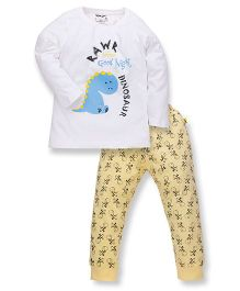 Tiny Bee Half Sleeves T-Shirt & Cuff Pajama Set - White Yellow