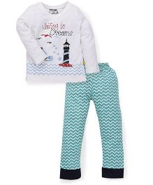Tiny Bee Full Sleeve Tee Cuff Pyjama Set - White & Green