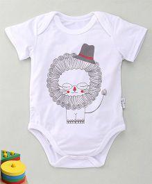 MFM Lion with Hat Print Half Sleeve Onesie - White