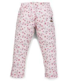 Tiny Bee Full Length Denim Pant Floral Print - Pink