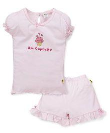 Tiny Bee Top & Frill Shorts Set Cupcake Print - Pink