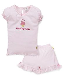 Tiny Bee Top & Frill Shorts Set Cupcake Print - Pink