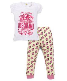 Tiny Bee Top & Cuffed Pyjama Set - White & Yellow