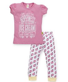 Tiny Bee Top & Cuffed Pyjama Set - Pink & White