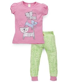 Tiny Bee Top & Cuffed Pyjama Set - Pink & Green