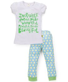 Tiny Bee Top & Cuffed Pyjama Set - White & Blue