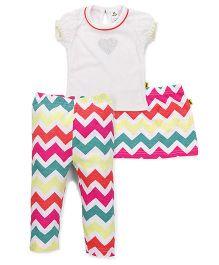 Tiny Bee Zigzag Print Skirt Top & Leggings - Multicolour