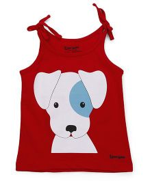 Tiny Bee Spaghetti Top Puppy Print - Red