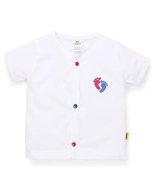 Tiny Bee Button Closure Half Sleeves Tee - White