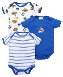 Kidi Wav Space Prints Body Suits Pack of 3 - Royal Blue