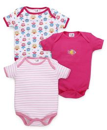 Kidi Wav Funny Birds Body Suits Pack of 3 - Pink