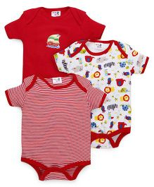 Kidi Wav Animal Kingdom Prints Body Suits Pack of 3 - Red