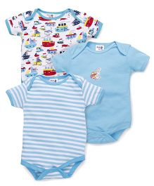 Kidi Wav Anchor Boat Prints Body Suits Pack of 3 - Light Blue