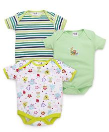 Kidi Wav Gifts Set Prints Body Suits Pack of 3 - Green