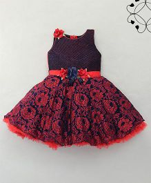 Eiora Beautiful Party Dress With Flower Design - Red & Blue
