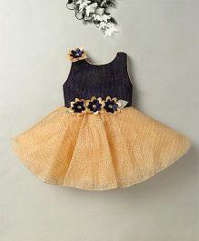 Eiora Flower Design Party Dress - Blue & Fawn