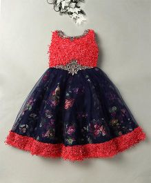 Eiora Beautiful Party Wear Gown - Blue & Tomato