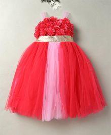 Eiora Beautiful Flower Design Party Wear Gown - Tomato