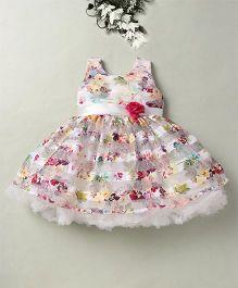 Eiora Flower Print Dress With Rose Applique - White & Purple