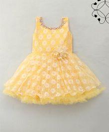 Eiora Beautiful Flower Design Dress - Yellow